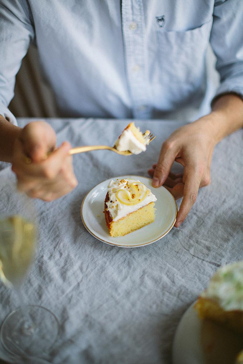 Herbed lemon cake with mascarpone cream, baked...
