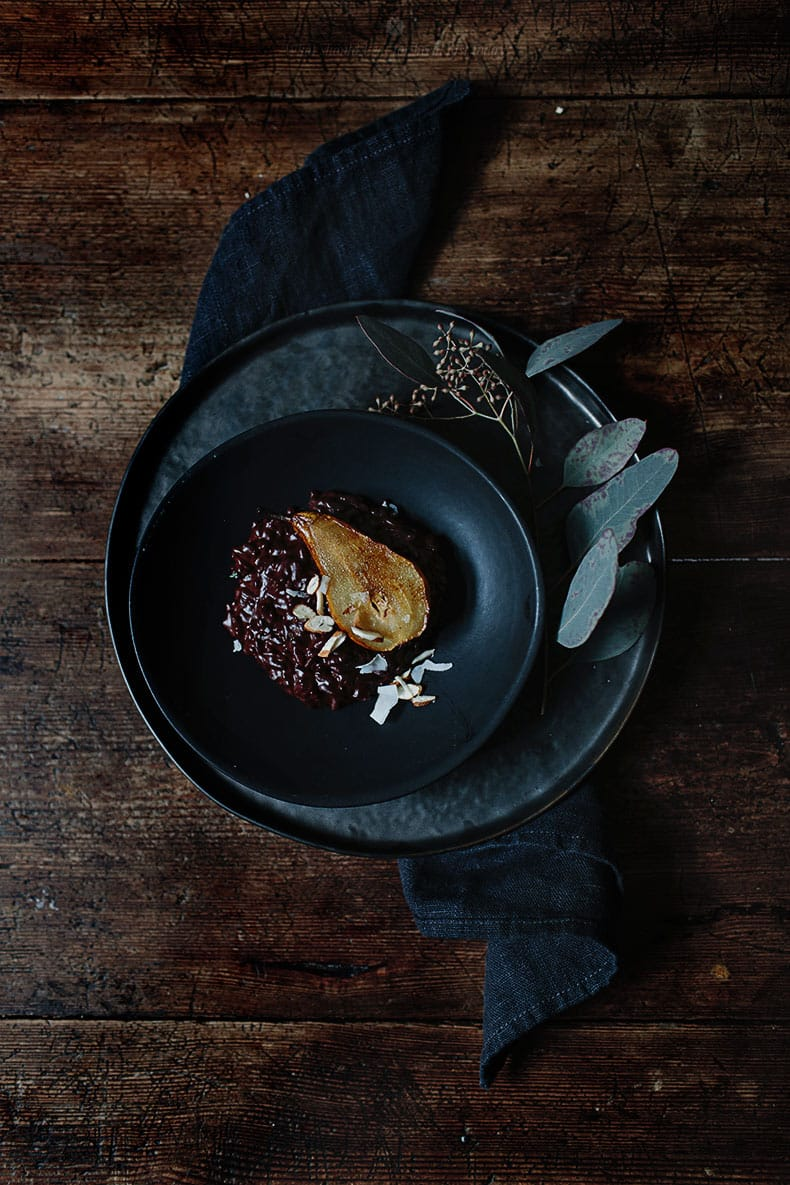 Chocolate risotto with fried pears