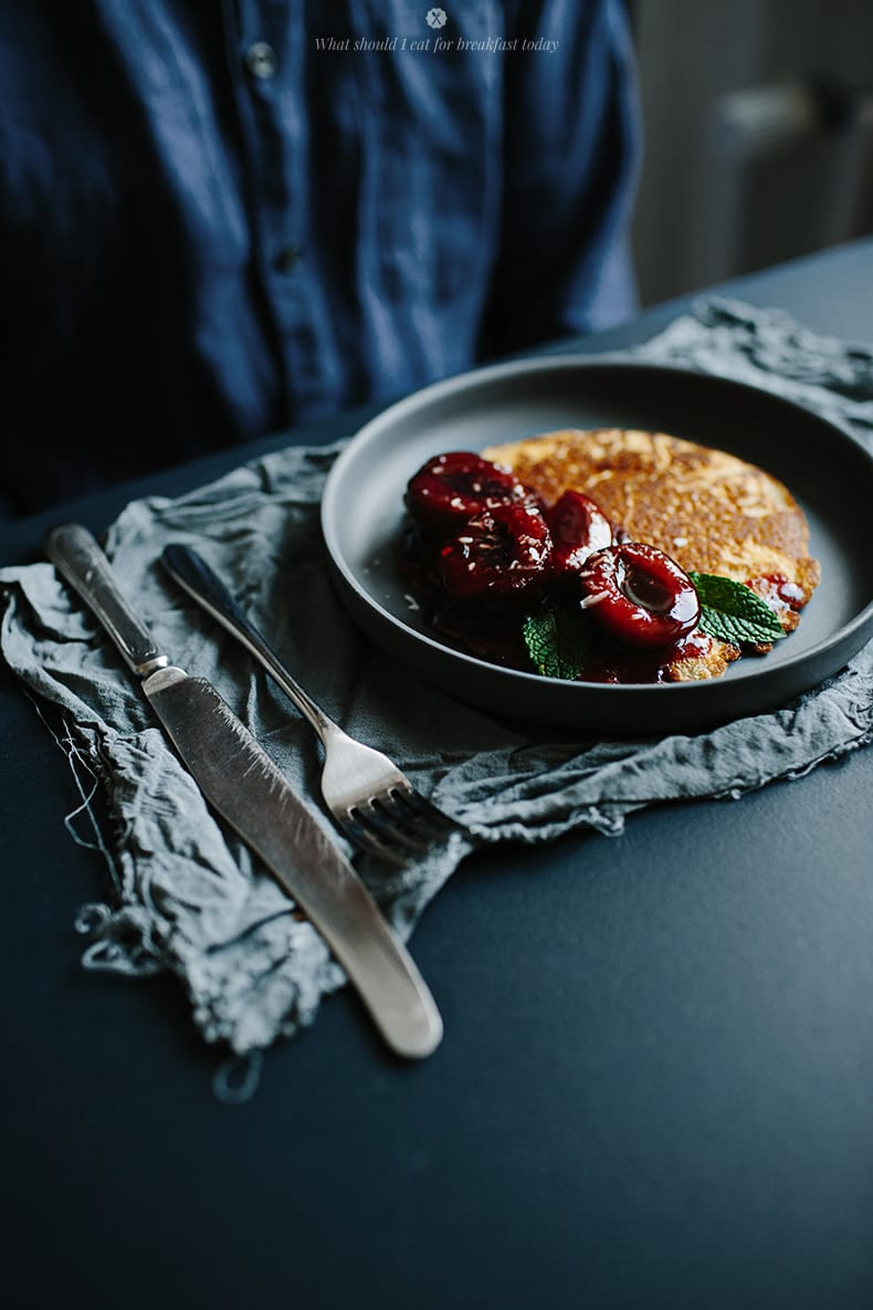 Healthy pancakes with plum compote