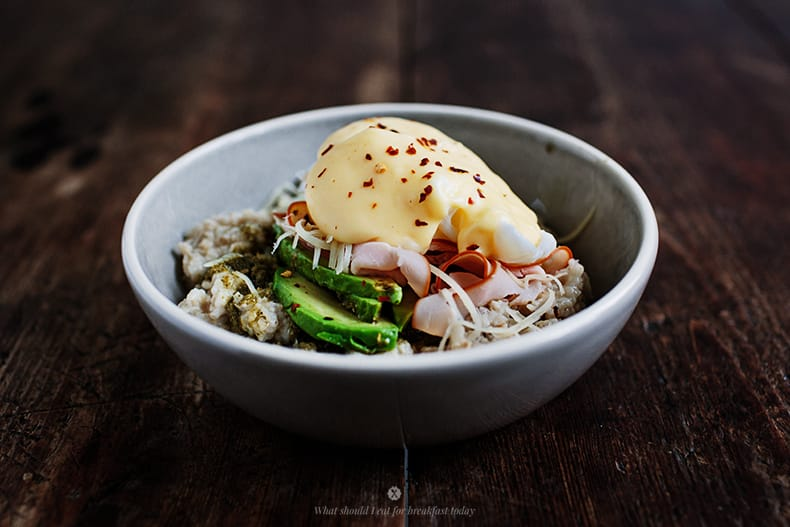 Savoury oatmeal with poached egg and a hollandaise...